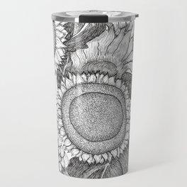 Sunflowers Black and White Ink Drawing Travel Mug