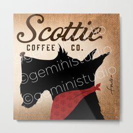 Scottie Coffee Company Dog Artwork by Stephen Fowler Metal Print