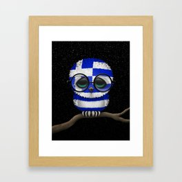 Baby Owl with Glasses and Greek Flag Framed Art Print
