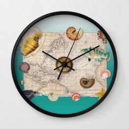 Marine Treasures Aquamarine Collage Wall Clock