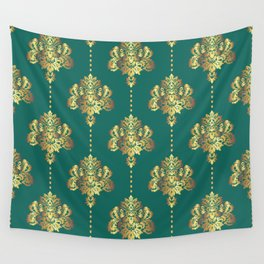 Gold damask flowers and pearls on emerald green background Wall Tapestry