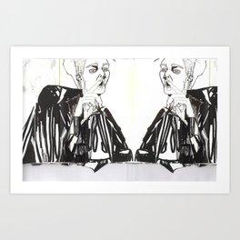 BLACK/WHITE MIRROR BOY Art Print