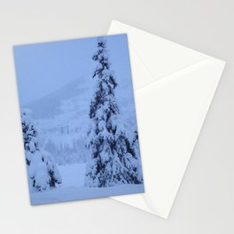 Snow Laden Evergreen Trees Stationery Cards