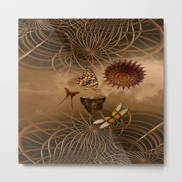 Steampunk Nature Metal Print