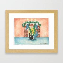Christmas stocking curiosity Framed Art Print