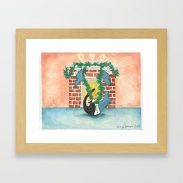 Christmas stocking curiosity Framed Art Print