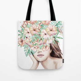 She Wore Flowers in Her Hair Island Dreams Tote Bag