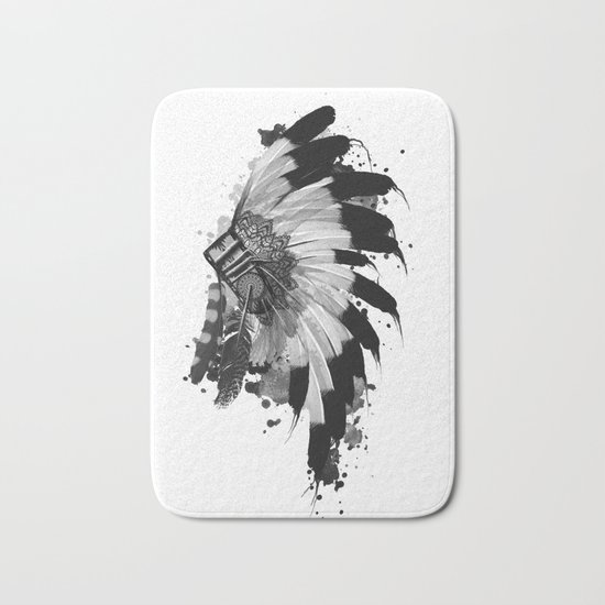 black and white headdress Bath Mat