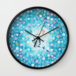 Flying bird , sea horse and flower pattern  Wall Clock
