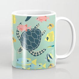 Underwater World with Coral Reef Animals Coffee Mug