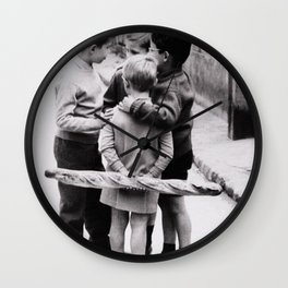 The Gangs of Paris, Little Boys with Morning Baguettes black and white photography - black and white photographs Wall Clock