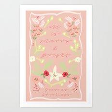 Christmas Floral Print Art Print