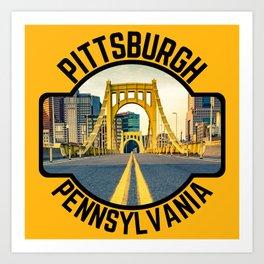 Pittsburgh Pennsylvania Steel City Skyline Bridge 412 Pride Art Print