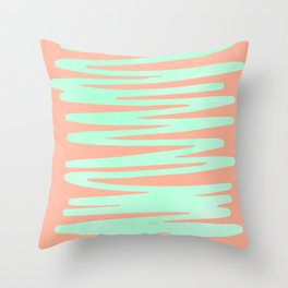 Sweet Life Soft Serve Peach Coral + Mint Meringue Throw Pillow