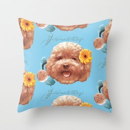Toy Poodle Puppy Face Throw Pillow