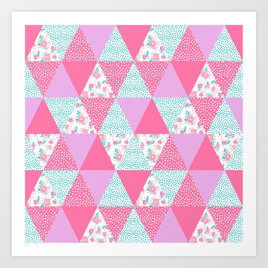 Bright quilt triangle cheater quilt pattern florals modern color palette gifts for nursery Art Print