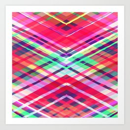Modern Pink Tribal Plaid Art Print