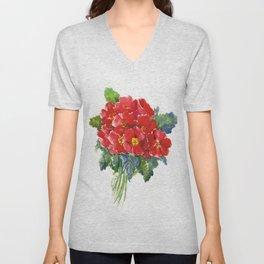 Red Flowers, Primula, red floral design Unisex V-Neck