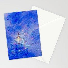The Teapot Village - Blue Japanese Lighthouse Village Artwork Stationery Cards