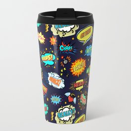 Retro Vintage Comic Book Speech Bubbles Design Travel Mug