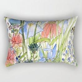 Botanical Garden Wildflowers and Bees Rectangular Pillow