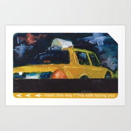 Subway Card NYC Taxi Painting Art Print