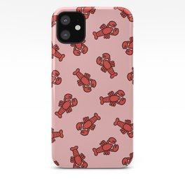 Lobster Pattern on Light Pink iPhone Case