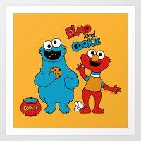 elmo Art Prints featuring Elmo & Cookie Fan Art by gabriela