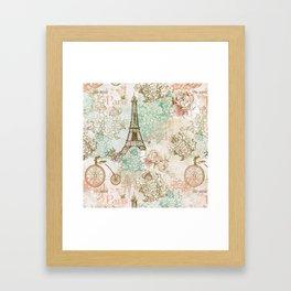 I love Paris - Vintage Shabby Chic - Eiffeltower France Flowers Floral Framed Art Print