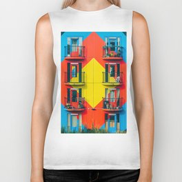APARTMENTS - BLUE - RED - YELLOW - BALCONIES - PHOTOGRAPHY Biker Tank