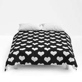 Black White Hearts Minimalist Comforters