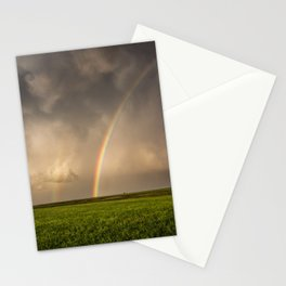 Mega Rainbow - Brilliant Rainbow Against Stormy Sky in Oklahoma Stationery Cards
