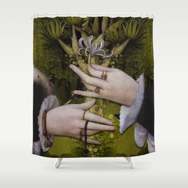 """The hands of Bosch and the Spring"" Shower Curtain"