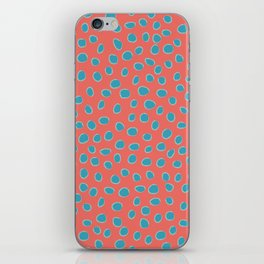 Living Coral and Turquoise, Teal Polka Dots iPhone Skin