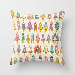 retro rockets eggshell Throw Pillow