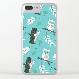 Forest Birds Wildlife - Muted Mint Clear iPhone Case