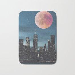 New York City Blood Moon Skyline Bath Mat