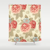 vintage flowers Shower Curtains featuring Vintage flowers by Lemuana