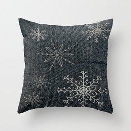Denim Snowflake Throw Pillow