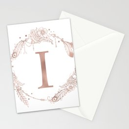 Letter I Rose Gold Pink Initial Monogram Stationery Cards