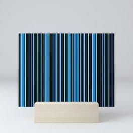 Shades of Dark Blue and Black | Stormy Seas Vertical Stripes | Mini Art Print