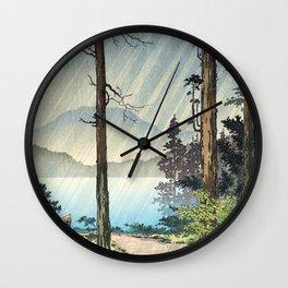 Tsuchiya Koitsu - Morning Rain in Hakone - Japanese Vintage Woodblock Painting Wall Clock