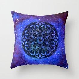 Anatomandala I x Watercolor Nebula Throw Pillow