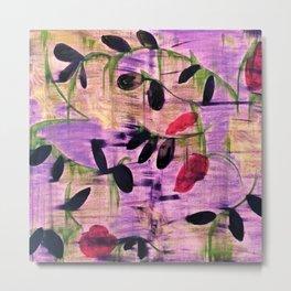 Purple Garden. Purple, Vines, Garden, Flowers, Green, Abstract, Jodilynpaintings Metal Print