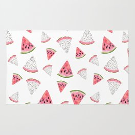 Fruity hand painted watercolor pink red black watermelon Rug