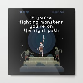 Fighting Monsters Gamer Zocker RPG Retro Metal Print