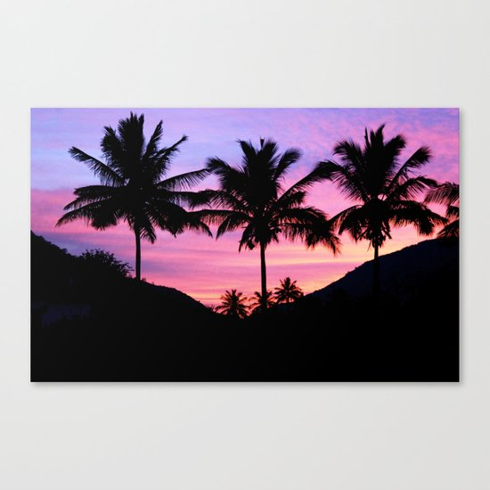Sunset Palm Trees Canvas Print