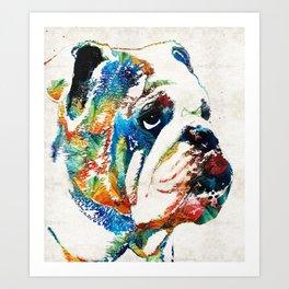 Bulldog Pop Art - How Bout A Kiss - By Sharon Cummings Art Print