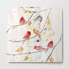 Winter Song 4 - Cardinal Birds Metal Print