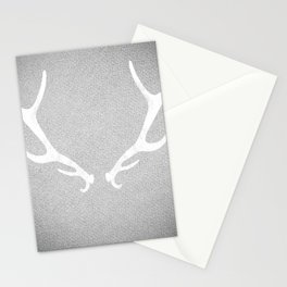 White & Grey Antlers Stationery Cards